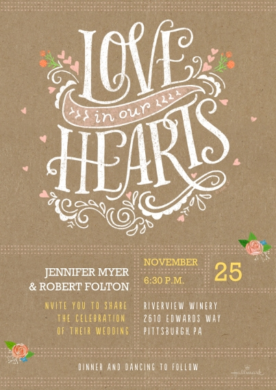 Wedding Invitations 5x7 Cards, Premium Cardstock 120lb, Card & Stationery -Rustic Floral & Lettering Invitation