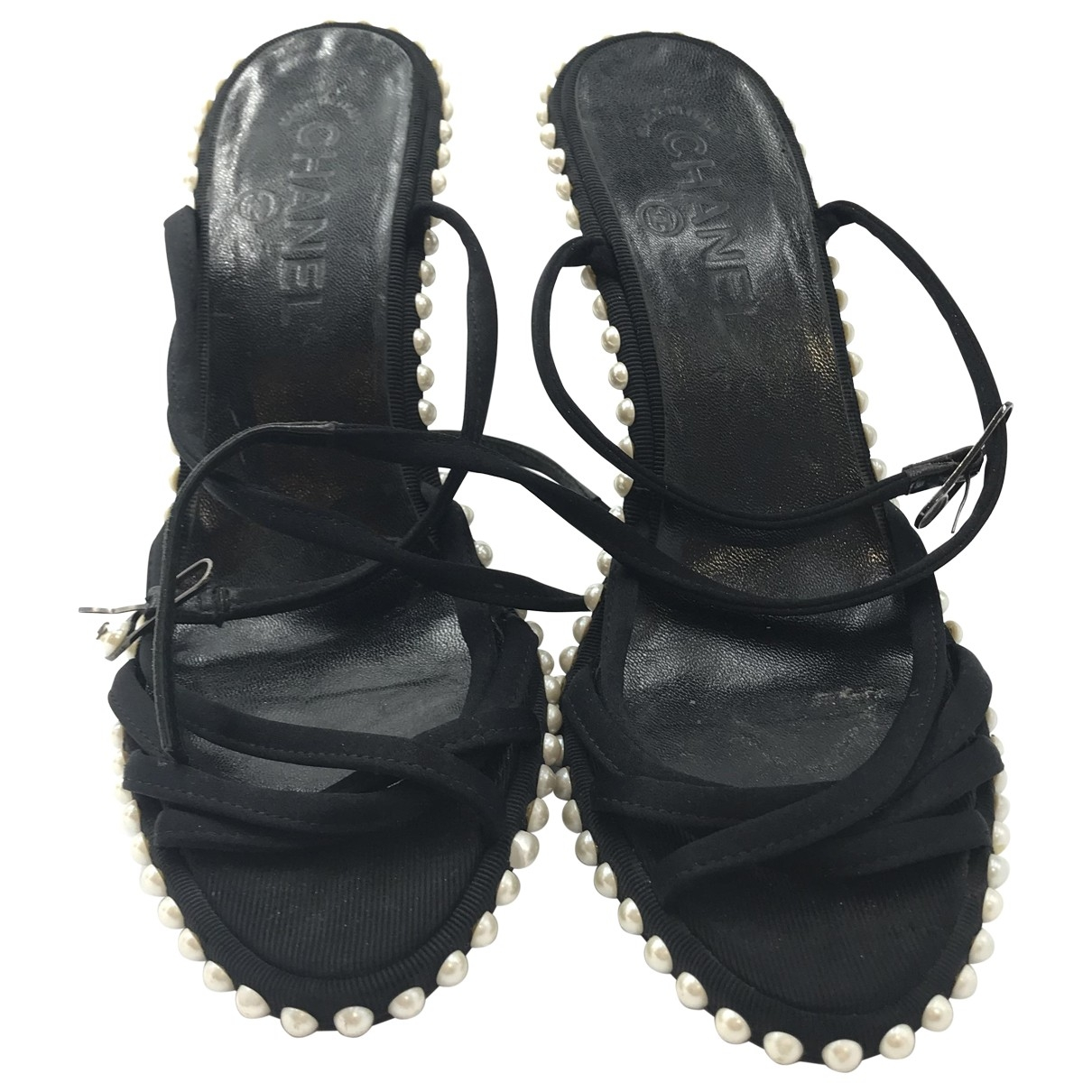 Chanel \N Black Cloth Sandals for Women 37.5 EU
