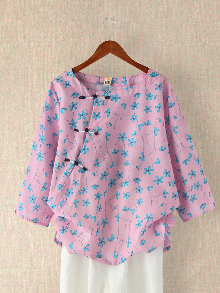 Floral Printed Long Sleeve O-neck Frog Button Blouse For Women