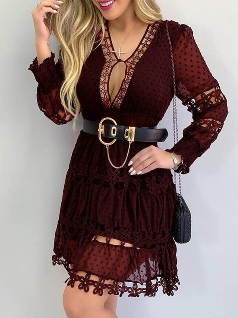 Ericdress Long Sleeve V-Neck Above Knee Polka Dots Spring Dress