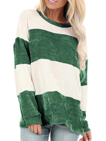 Milanoo Women Pullover Sweatshirt Green Stripes Jewel Neck Long Sleeve Top