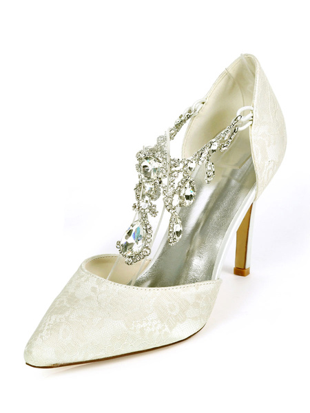 Milanoo Wedding Shoes Luxury Pointed Toe Rhinestones Stiletto Heel 3.7 Bridal Shoes