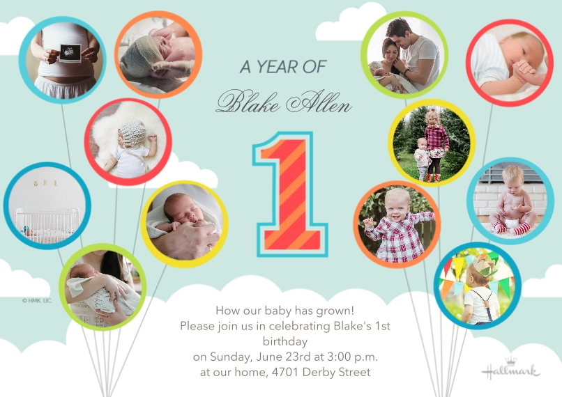 1st Birthday Invitations Flat Matte Photo Paper Cards with Envelopes, 5x7, Card & Stationery -A Year of Baby - Sky Blue