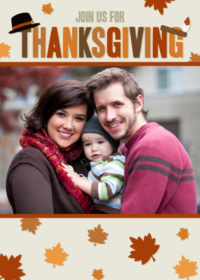 Thanksgiving Photo Cards 5x7 Folded Cards, Standard Cardstock 85lb, Card & Stationery -Bountiful Thanksgiving