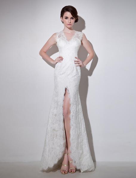Milanoo Sweep Ivory Sheath V-Neck Beading Lace Bridal Wedding Dress
