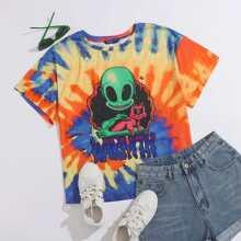Plus Letter and Alien Print Tie Dye Top