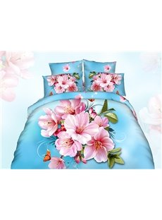 3D Pink Peach Blossom Printed Cotton 4-Piece Blue Bedding Sets/Duvet Cover