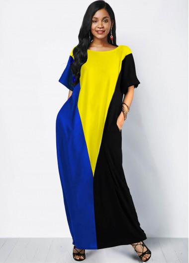 Wedding Guest Dress Short Sleeve Side Pocket Color Block Maxi Dress - XS