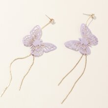 Rhinestone Butterfly Drop Earrings