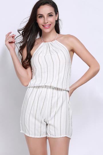 Yoins Stripe Pattern Lace-up Tassel Playsuit
