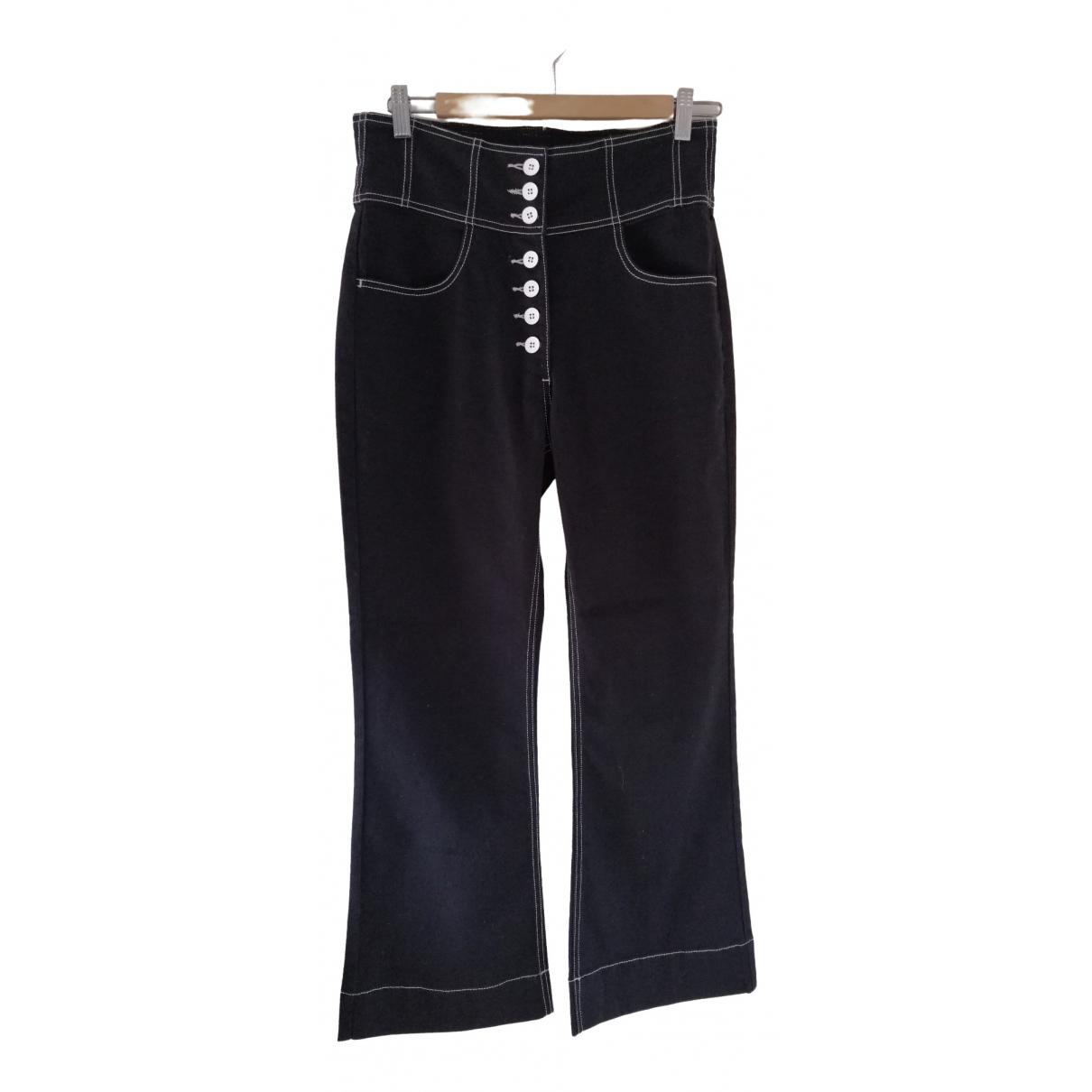 Ulla Johnson \N Black Cotton Trousers for Women 10 US