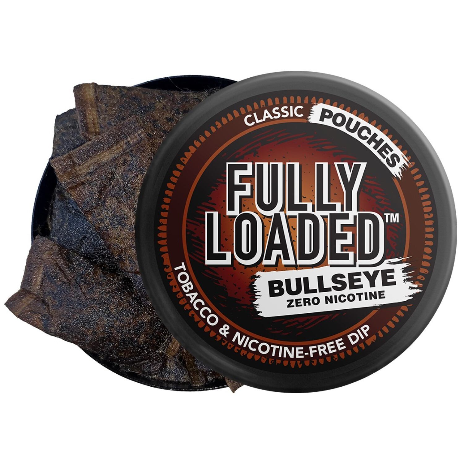 Fully Loaded Chew Tobacco and Nicotine Free Classic Bullseye Pouches Signature Flavor, Chewing Alternative-5 Cans