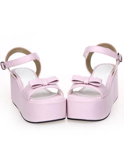 Milanoo Sweet Lolita Sandals High Platform Ankle Strap Buckle Bow