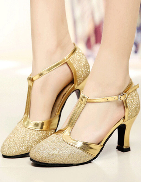 Milanoo Gold Ballroom Shoes Glitter Round Toe T Type Vintage Shoes Salsa Dance Shoes