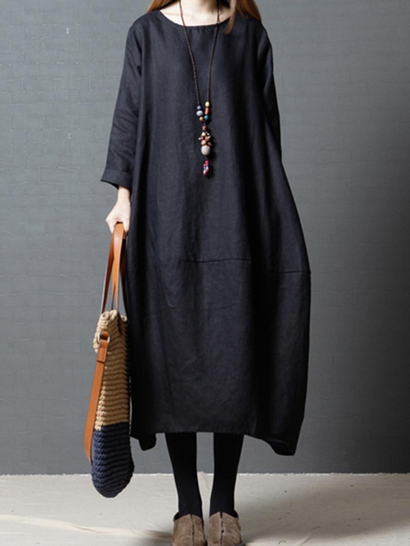 Ericdress Long Sleeves Pocket Spring Dress