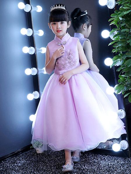 Milanoo Flower Girl Dresses Kids Fuchsia Pink Satin Beaded Mandarin Collar Bow Sash Little Girls Pageant Dress