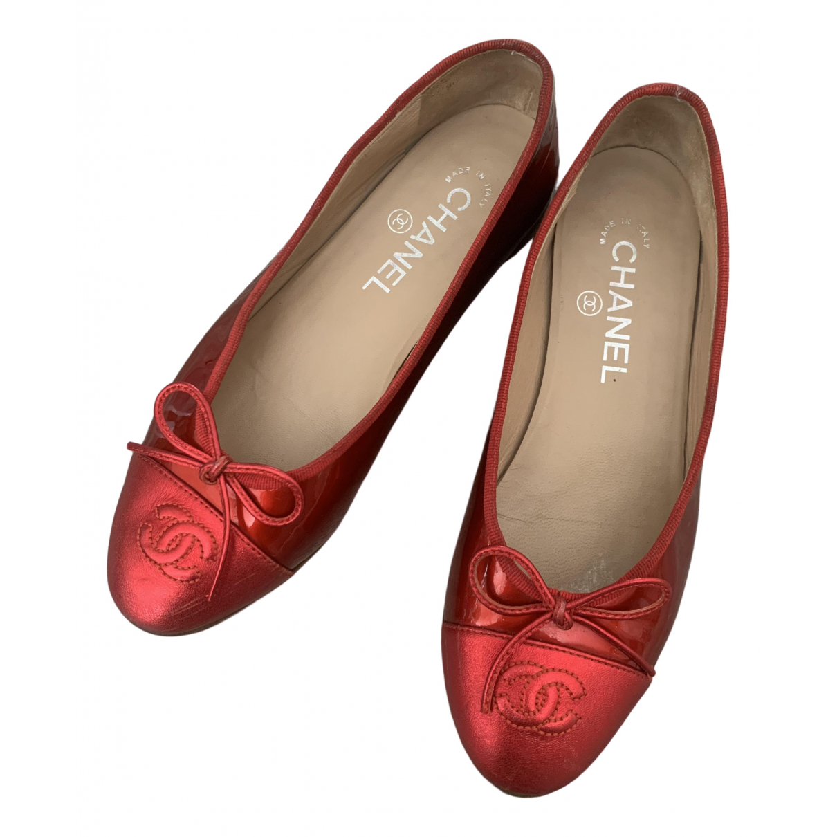 Chanel \N Red Patent leather Ballet flats for Women 36 EU