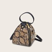 Snakeskin Pyramid Satchel Bag