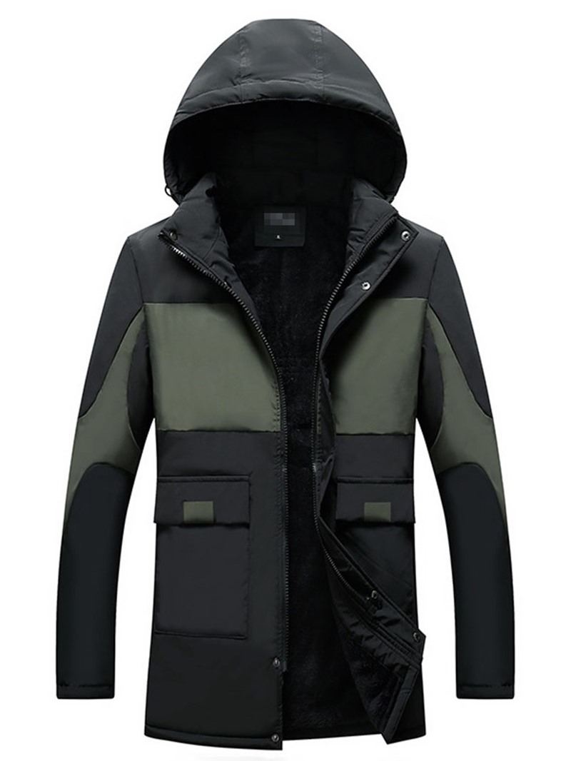 Ericdress Hooded Mid-Length Patchwork Zipper Casual Men's Down Jacket