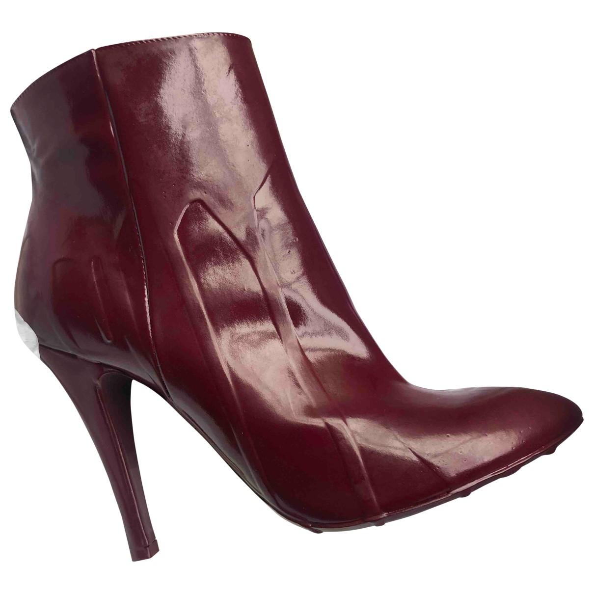 Maison Martin Margiela \N Burgundy Leather Ankle boots for Women 37 EU