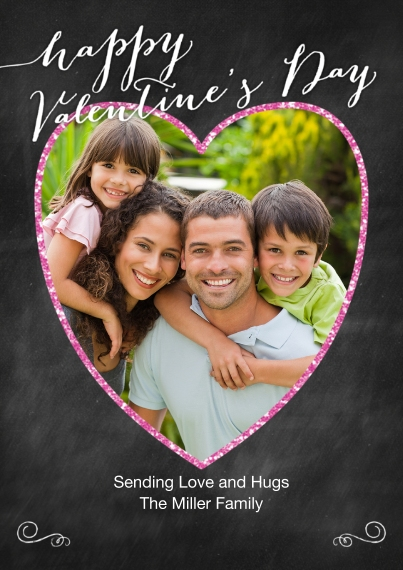 Valentine's Cards 5x7 Cards, Standard Cardstock 85lb, Card & Stationery -Valentine Glitter Heart Photo