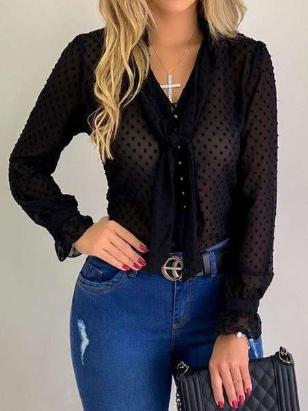 Milanoo Women Chiffon Blouse Pussy Bows Embellished Collar Long Sleeves Tops