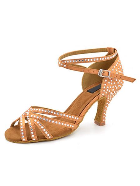 Milanoo Black Dance Shoes Satin Latin Dancing Shoes Rhinestones Beaded Criss Cross Ballroom Shoes