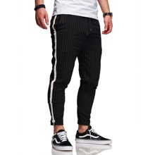 Men Striped Side Tape Tapered Pants