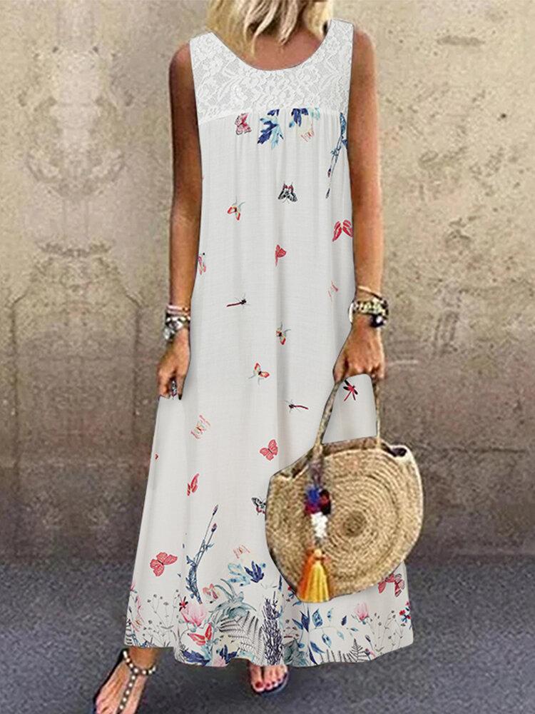 Butterflies Print Patchwork Sleeveless Maxi Plus Size Dress
