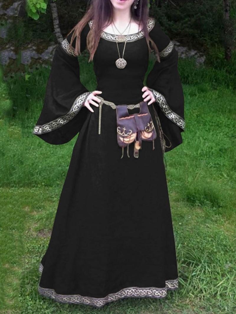 Ericdress Flare Sleeve Expansion Print Ankle-Length Standard-Waist Dress