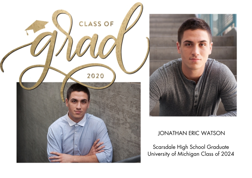 2020 Graduation Announcements 5x7 Cards, Standard Cardstock 85lb, Card & Stationery -Grad 2020 Simple Script by Tumbalina