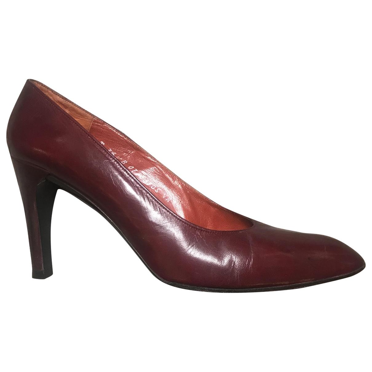 Dior \N Burgundy Leather Heels for Women 7.5 US