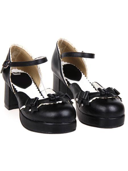 Milanoo Sweet Chunky Heels Lolita Shoes Platform Strap Buckles Bows
