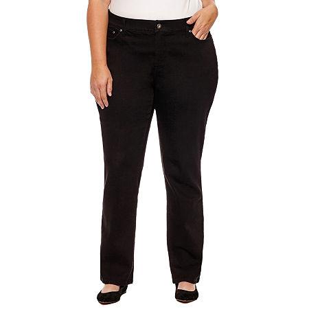 St. John's Bay Womens Mid Rise Stretch Straight Leg Jean, 14w , Black