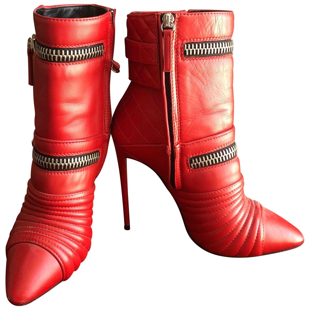 Giuseppe Zanotti \N Red Leather Ankle boots for Women 38 EU