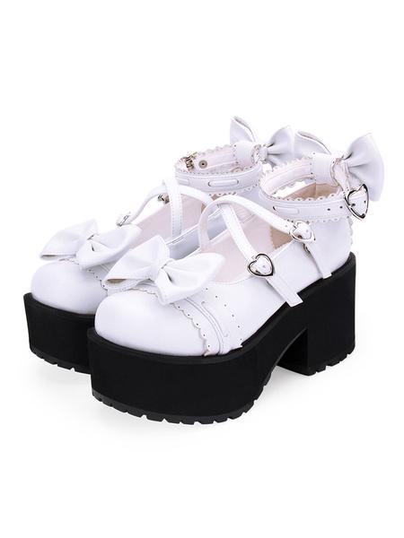 Milanoo Sweet Lolita Shoes Bows PU Leather Platform Chunky Heel Lolita Pumps