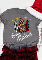 Plaid Leopard Printed Merry Christmas Trees T-Shirt Tee - Gray