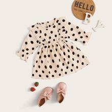 Baby Girl Polka Dot Ruffle Trim Wrinkled A-line Dress