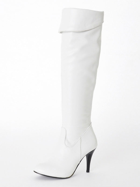 Milanoo Over The Knee Boots Womens PU Pointed Toe Stiletto Heel Winter Boots