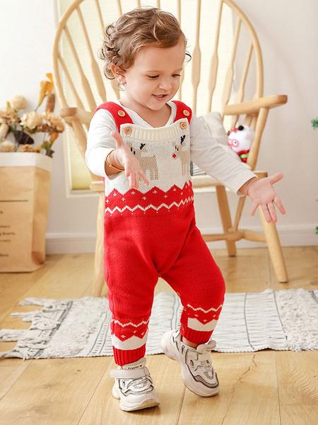 Milanoo Kigurumi Pajamas Onesie Christmas Pattern Kids Knitted Winter Sleepwear Mascot Animal Halloween Costume