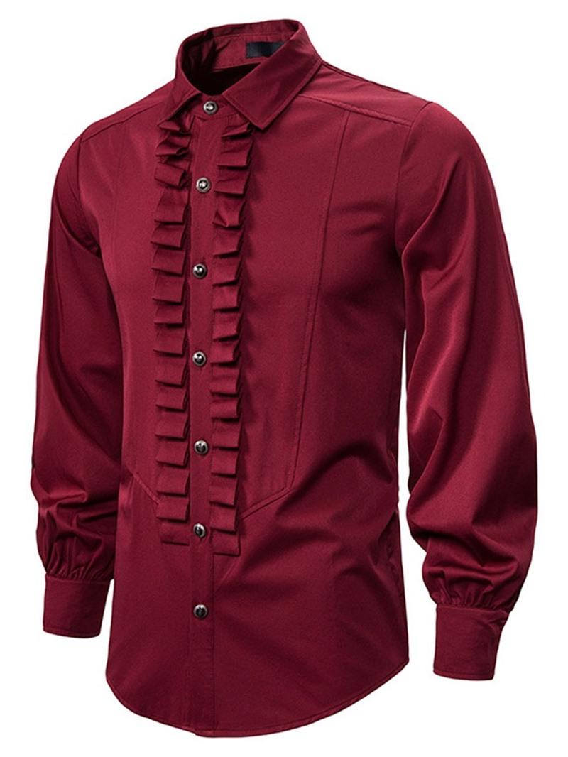 Ericdress Vintage Lapel Pleated Men's Slim Shirt