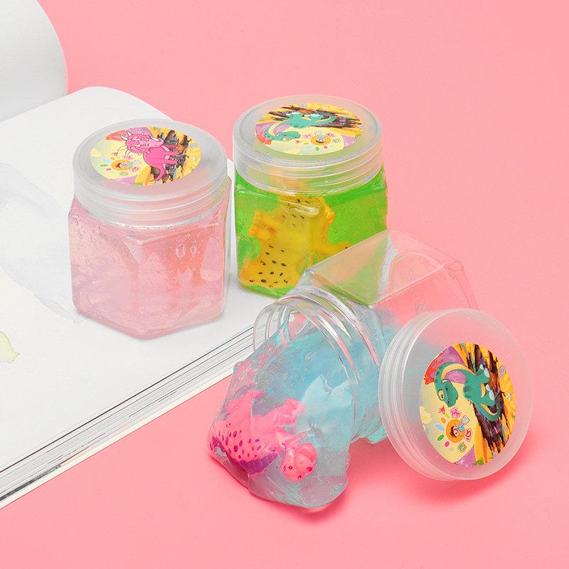 Dinosaur Crystal Slime Hex Bottle Transparent Clay DIY Plasticine Toy Gift