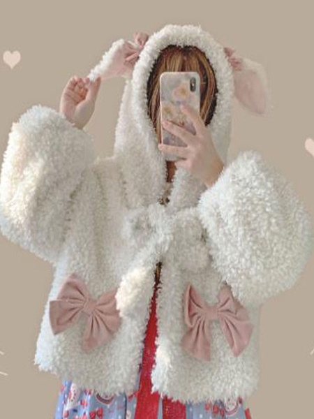Milanoo Sweet Lolita Coats White Polyester Overcoat Winter Lolita Outwears