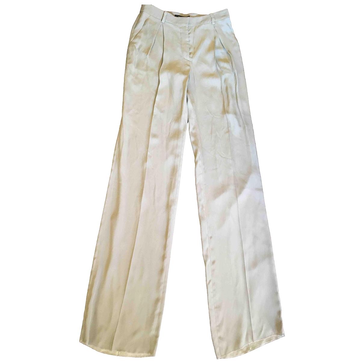 Versace \N Khaki Silk Trousers for Women 38 FR