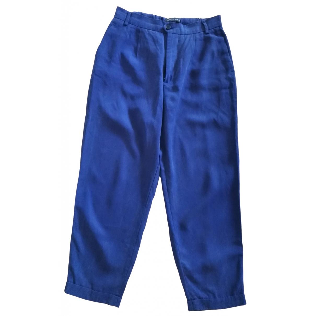 Zara \N Blue Cotton Trousers for Women S International