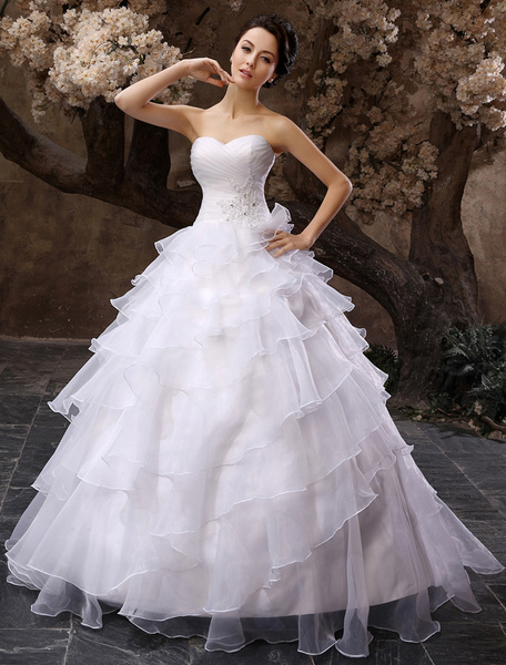 Milanoo White Sweetheart Multi-Layer Wedding Dress