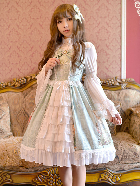 Milanoo Sweet Lolita Dress JSK Light Pink Printed Layered Ruffled Lace Up Slim Fit Cotton Lolita Jumper Skirt With Bow Original Design