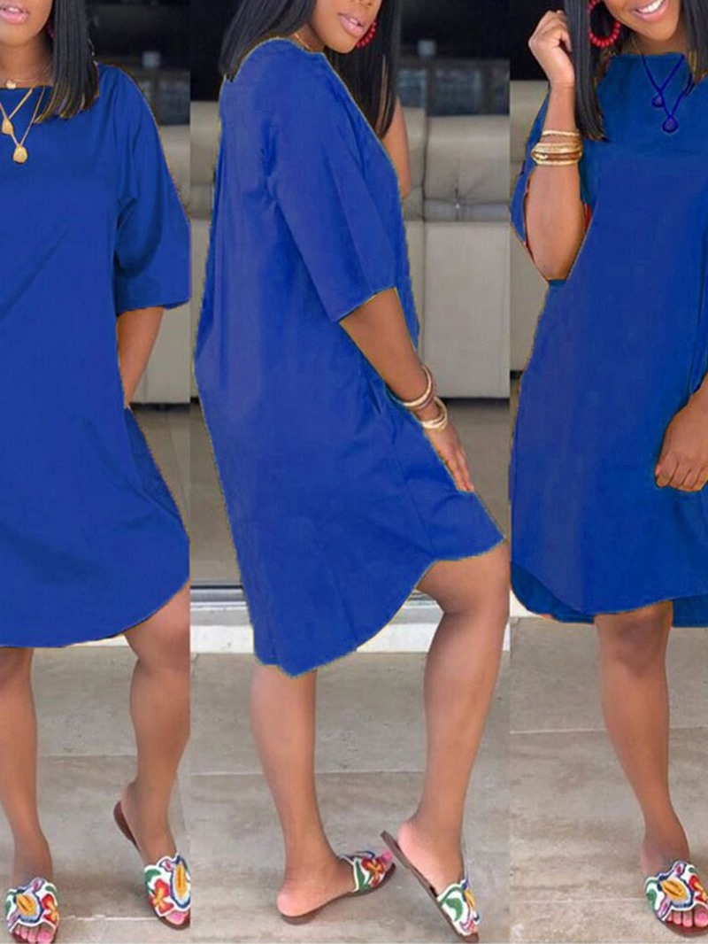 Ericdress Casual Round Neck Half Sleeve Asymmetric Simple Plain Dress