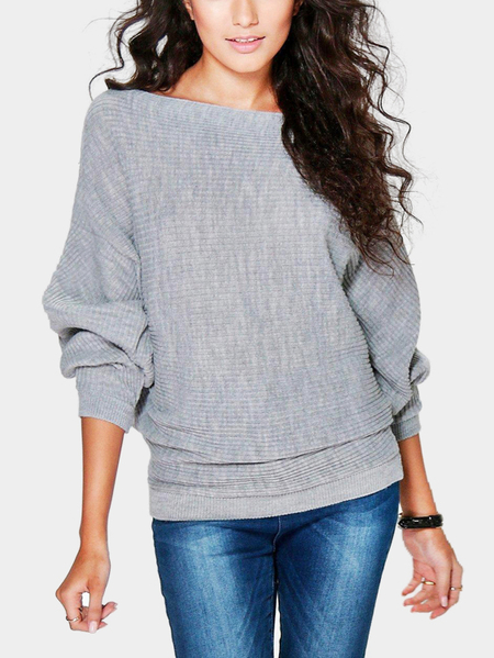Yoins Grey Long Sleeves Loose Jumper