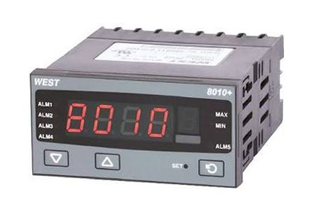 West Instruments P8010 PID Temperature Controller, 96 x 48 (1/8 DIN)mm, 2 Output Relay, 24 V ac, 48 V ac Supply Voltage